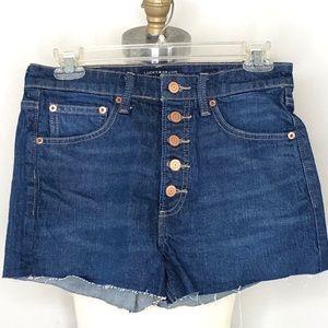 Lucky Brand Dark Wash Pins Button Fly Jean Shorts